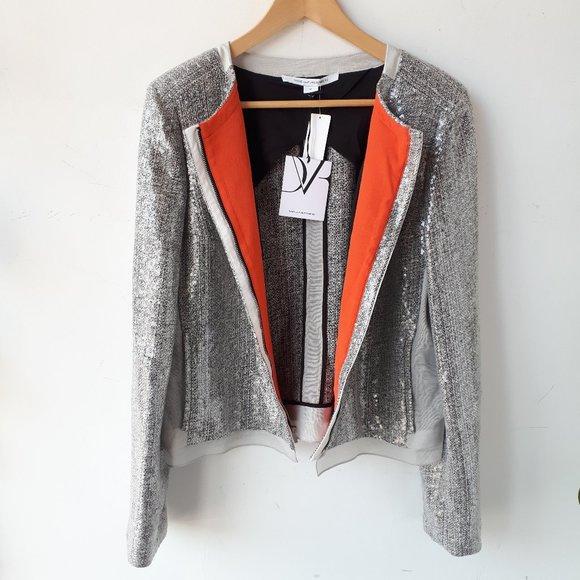 Diane Von Furstenberg Jackets & Blazers - DVF tweed silk jacket, Size 14